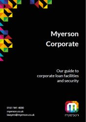 Myerson Corporate Guide to Corporate loan facilities and security Cover